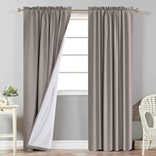 Sponsored Ad - Flamingo P Full Blackout Taupe Curtains with White Liner Thermal Insulated Waterproof Window Treatment Pane...