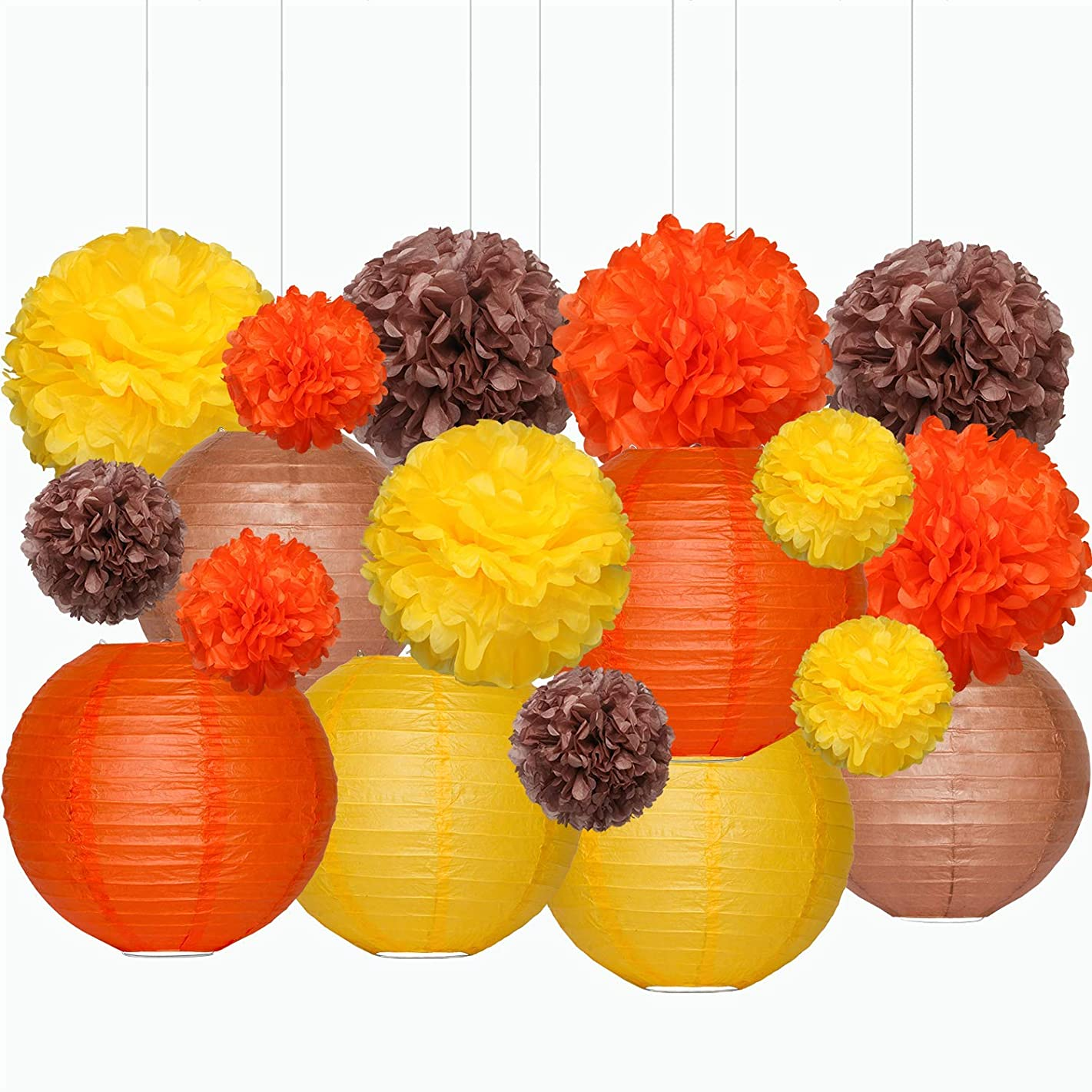 Sumille 18 Pack Tissue Paper Pom Poms Flowers and Round Paper Lanterns for Home, Office, Classroom, Indoor and Outdoor, 3 Size, Orange Brown Yellow