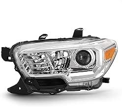 Fits 2016 2017 2018 2019 Toyota Tacoma w/o LED DRL Chrome Headlight [Halogen Models] Driver Left Side Headlamp