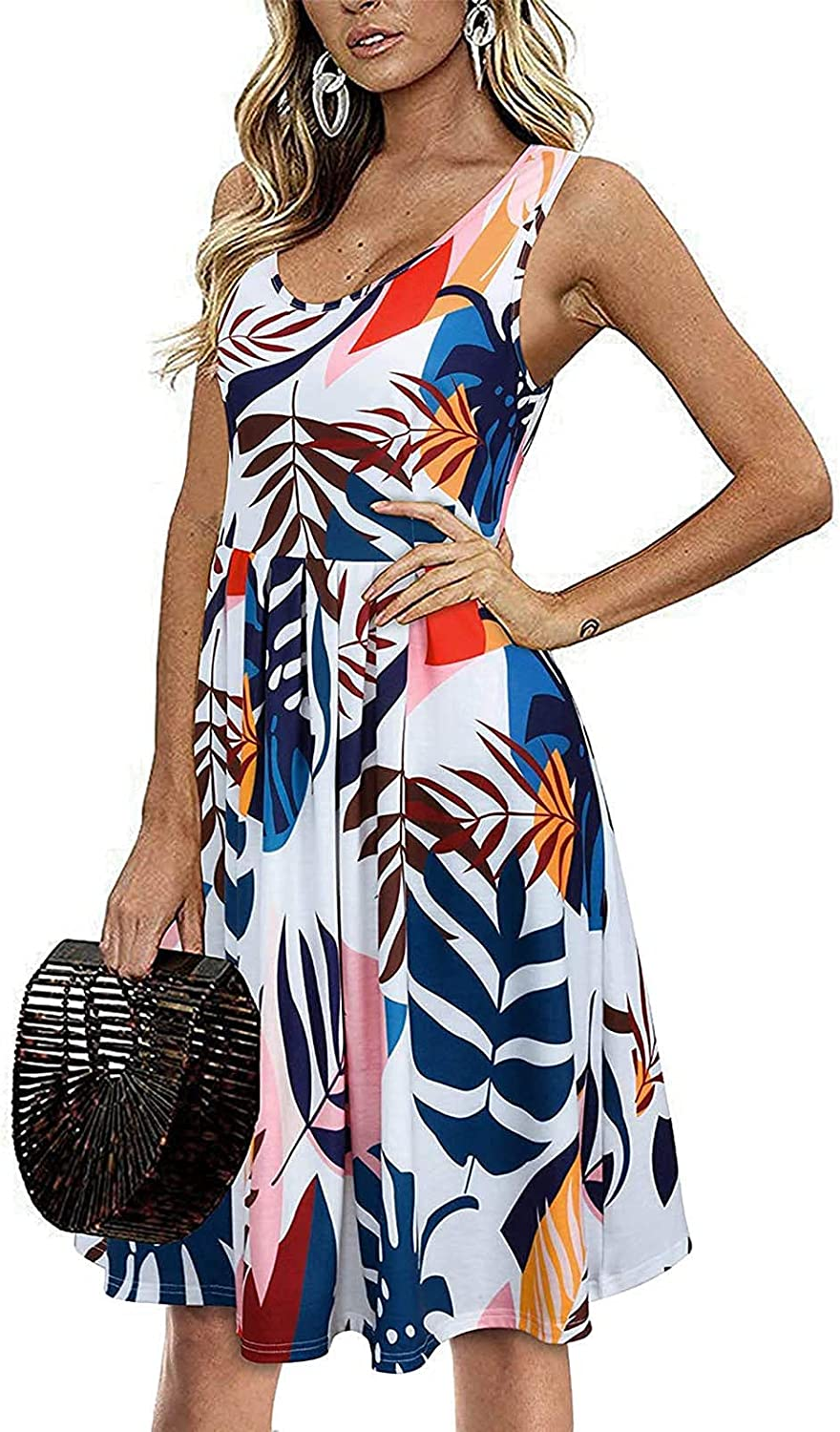 Summer Dresses for Women Floral Print Spring Crew Neck Beach Boho Sundress Plus Size Loose Elastic Fit Cover Up