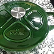 Olla cocotte Redonda de 36 CM Navaris Cacerola de Hierro Fundido con Tapa Cazuela de 7.7 L con Asas para cocinar en Horno Plancha inducci/ón