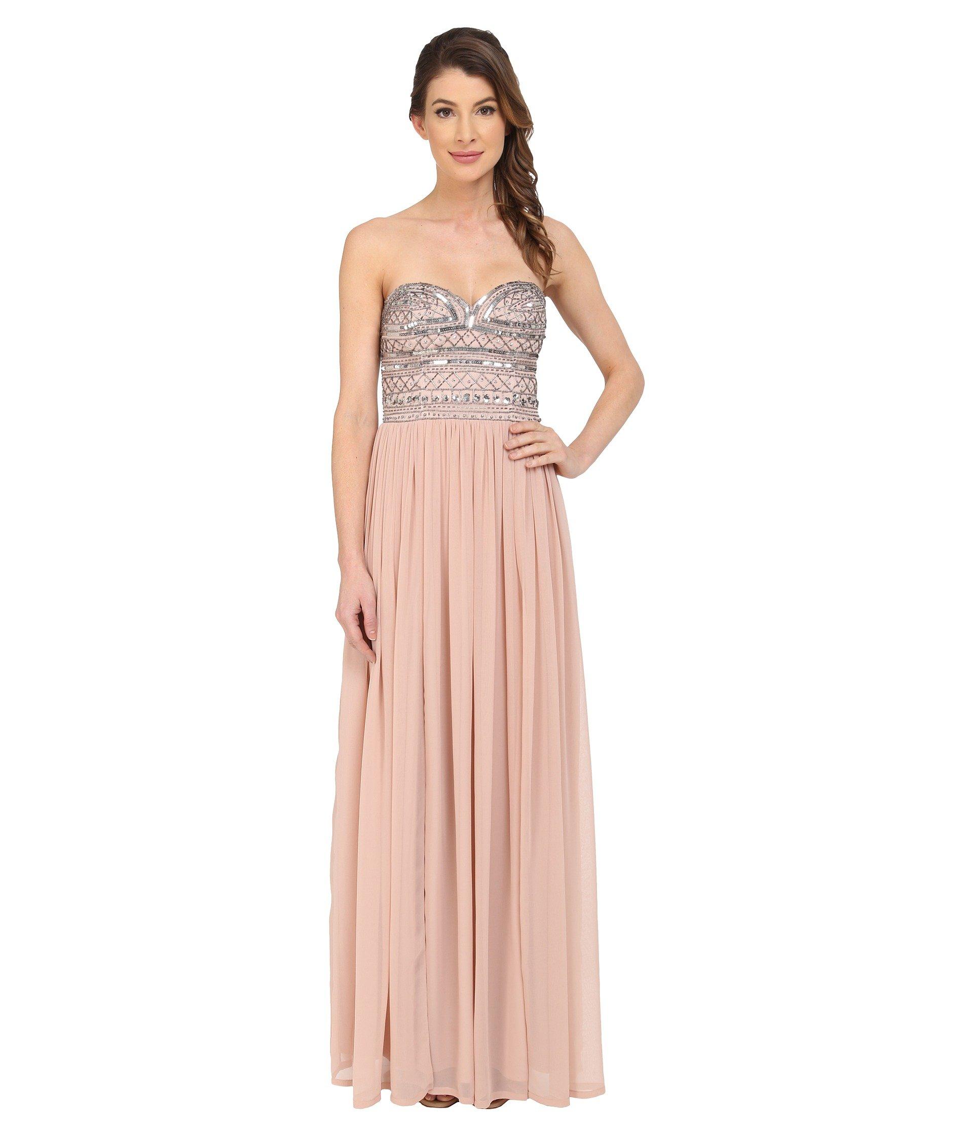 AIDAN MATTOX Strapless Chiffon Gown With Beaded Bodice, Blush | ModeSens