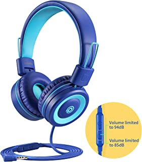 POWMEE P10 On-Ear Kids Headphones with Microphone,HD Sound Headphones for Children Boys Girls,Adjustable 85dB/94dB Volume Control,Foldable Headset with Mic for School/PC/Cellphone