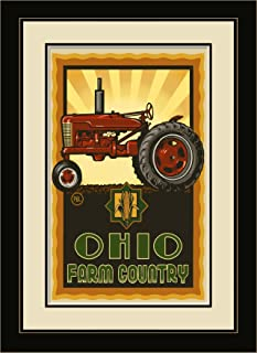 Northwest Art Mall PAL-3015 MFGDM TPS Ohio Farm Country Tractor Profile Sunrise Framed Wall Art by Artist Paul A. Lanquist...