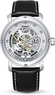Time100 Men's Classic Business Waterproof Hollow Engraving Dial Analog Mechanical Wrist Watches