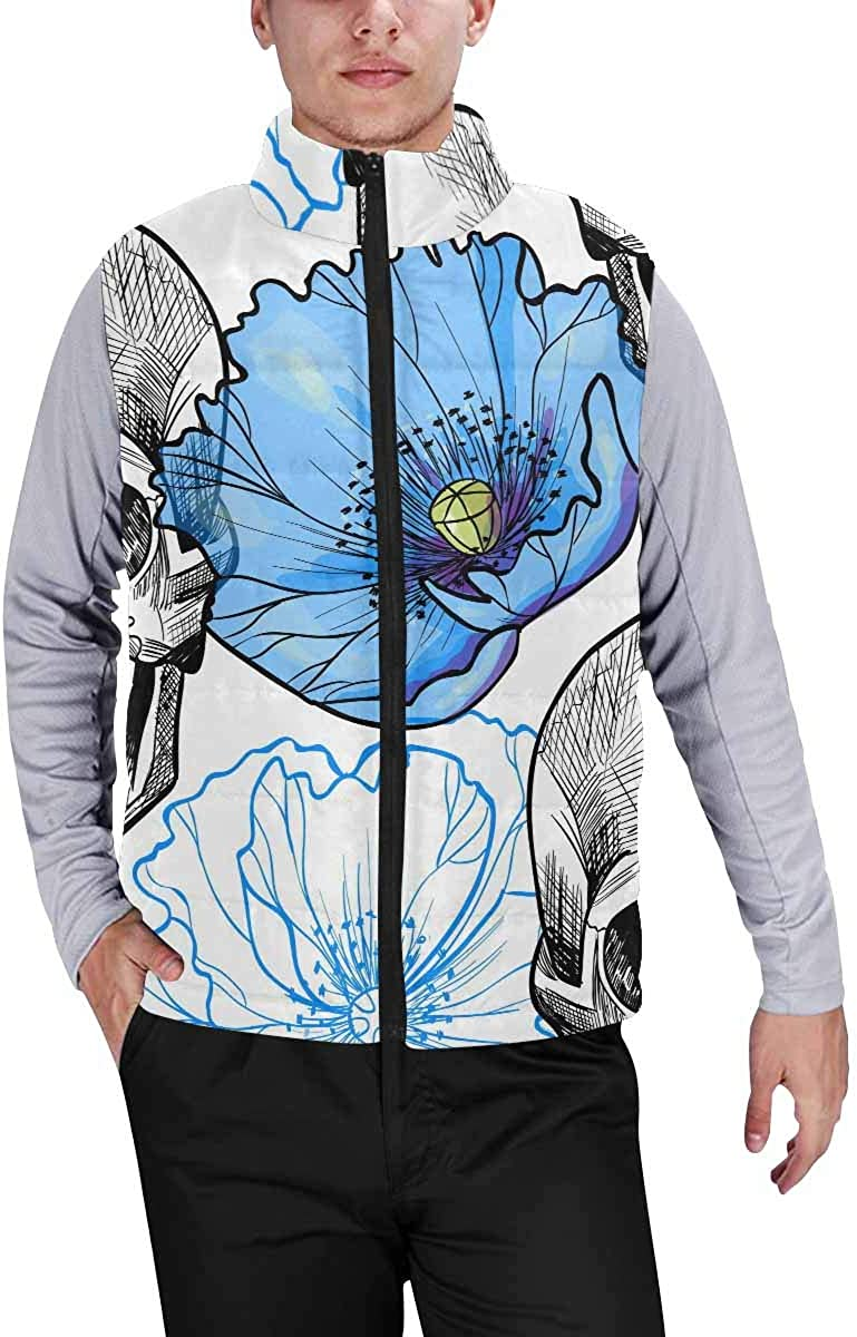 InterestPrint Men's Lightweight Vest Softshell for Camp Skull and Beautiful Blue Butterfly