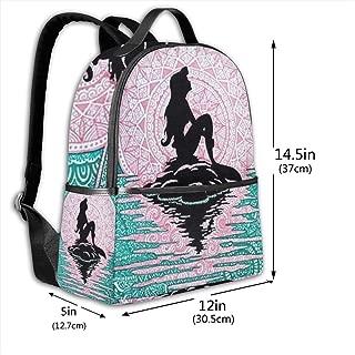 Classic School Backpack The Little Mermaid Unisex College Schoolbag Travel Bookbag Black
