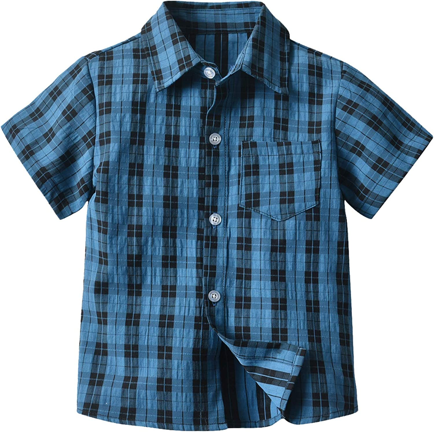 Toddler Baby Boy's Button Down Plaid Shirts Short Excellent Sleeve NEW before selling Striped