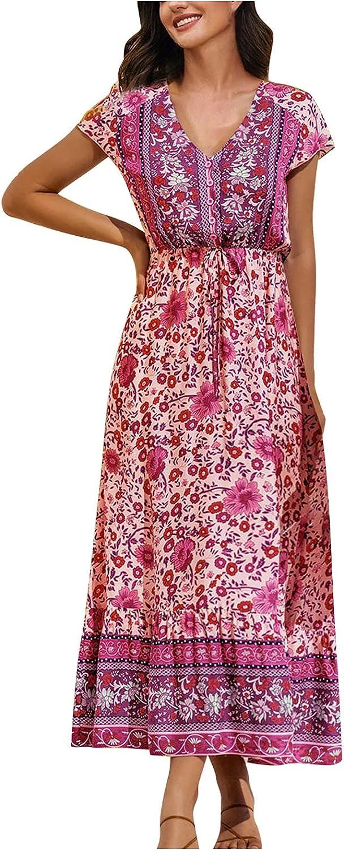 Bohemian Style Floral Maxi Dress Loose Boho Dress, V-Neck Short Sleeve Beach Dress