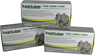 Super Sculpey Sculpting Compound Extra-Firm Gray Oven-Bake Clay - Shatter and Chip Resistant - 1 Lb, Pack of 3