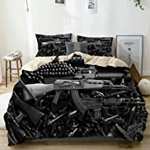 BGNHG Decorative Duvet Cover Sets Bed Sheets,Beige,Damaged Weapon Gun,3 Piece Bedding Set with 2 Pillow Cases Twin Size
