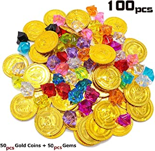 100pcs Plastic Pirate Gold Coins Colored Gems Pirate Treasure Hunt Playset Toys for Kids Party Theme Props Decoration Party Favor Plastic Gold Coins Gems for Games Resources / Point Tokens, Goodie Bag