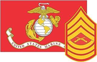 Marine Corps Flag USMC w/MSgt Rank Master Sergeant Vinyl Decal Sticker Cars Trucks Laptops etc.3.22x5 (Red) (Full Color) (Full Color) (Fulll Color)