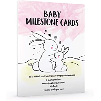 Premium Set of 35 Baby Girl Monthly Milestone Photo Cards, 6 x 8 Inches, Photo Prop, Growth Memories Festivals, Newborn Infant Shower Gift, Pregnant New Expectant Moms, Bunny, Melting Hearts