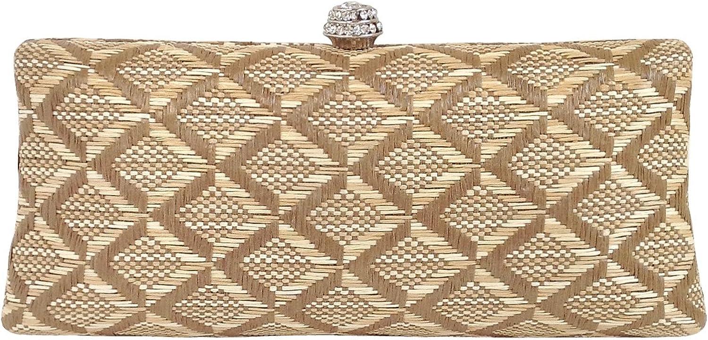 Geometric Patterned Raffia Straw Box Clutch