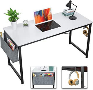 Foxemart Computer Desk Modern 39 Inch Writing Study Desk Simple PC Laptop Notebook Table with Storage Bag and Iron Hook fo...