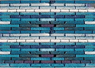 Yeele 10x6.5ft Cyan Brick Wall Photography Backdrop Old Brick Wall House Painted in Blue Paint Background Kids Adult Artistic Portrait YouTube Channel Photoshoot Props