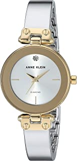 Anne Klein Women's AK/3237SVTT Diamond-Accented Two-Tone Bangle Watch