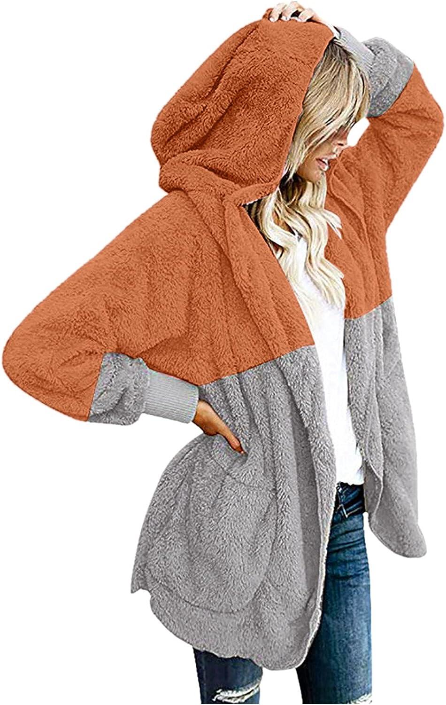 Women's Faux Fuzzy Hooded Coats, Casual Fuzzy Fleece Open Front Cardigan Hooded Splicing Draped With Pockets Jackets