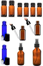 12 Refillable Glass Bottles Pack for Essential Oils (0.34 OZ, 1 OZ, 2 OZ & 4 OZ) - with Orifice Reducer Dropper and Cap - Glass Eye Dropper - Sprayer - Stainless Steel Roller Balls - Amber & Blue