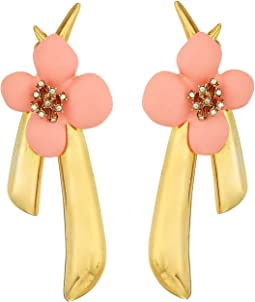 Oscar de la Renta - Painted Flower Drop C Earrings