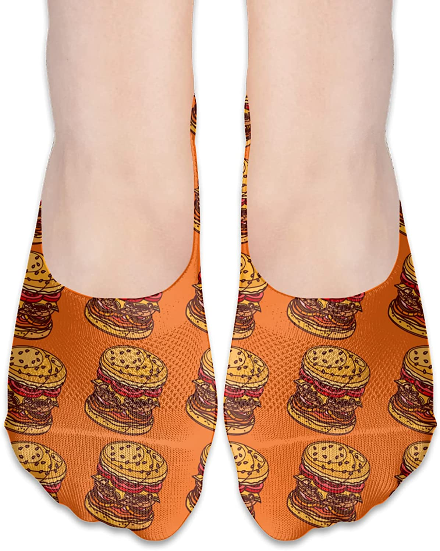 No Show Socks Women Men For Fast Food Hamburger Flats Cotton Ultra Low Cut Liner Socks Non Slip