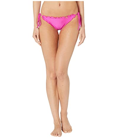 Luli Fama Cosita Buena Wavey Brazilian Tie Side Ruched Back Bikini Bottom (Poppin Pink) Women