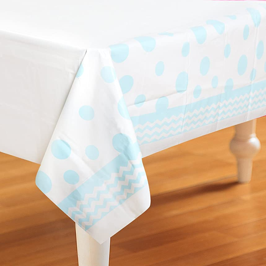 Creative Converting 720079 Chevron & Polka Dots Celebrations Plastic Tablecover, 54 by 108