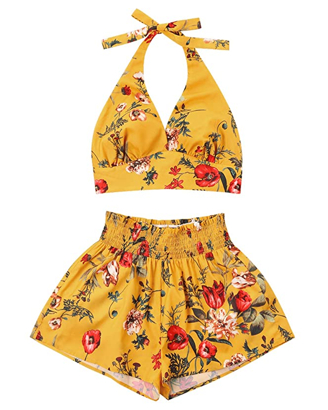 ZAFUL Women Floral Print Sleeveless Strap Crop Cami Top Two Piece Shorts Set Jumpsuit Romper