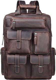 S-ZONE Vintage Crazy Horse Genuine Leather Backpack Multi Pockets Travel Bag