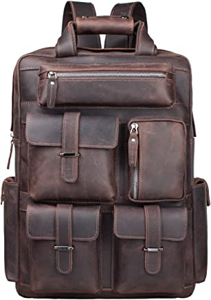 S-ZONE Vintage Crazy Horse Genuine Leather Backpack Multi Pockets Travel Sports Bag