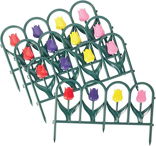 high quality Tulip online Border Fence Edging Set - outlet sale 4 Pc, Multi online sale
