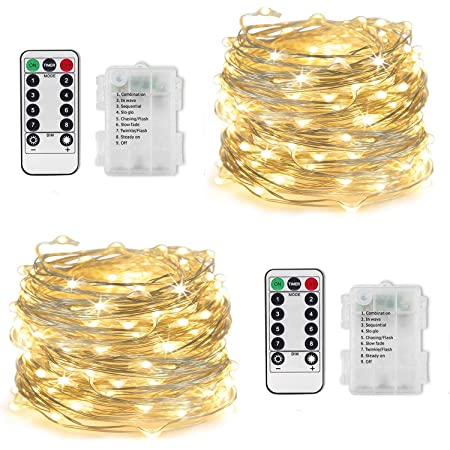 LED Fairy Lights Battery Operated - 33Ft 100 LED Copper Wire String Lights with Remote Timer 8 Modes | Twinkle Lights for Christmas Wedding Party Patio Garden Decorations (2 Pack, Warm White)