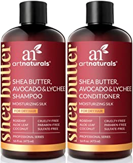 ArtNaturals Shea-Butter Shampoo and Conditioner Set - (2 x 16 Fl Oz / 473ml) - Moisturizing Silk - For Dry Damaged Hair - Avocado, Lychee, Rosehip, Aloe Vera and Coconut - Sulfate-Free