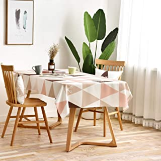 Vanmay Geometric Pattern Spillproof Modern Tablecloth Elegance Table Cover for Kitchen Dining Banquet Holiday Dinner Picnic Camping - Water Resistant Table Cloth (Pink, Rectangle, 53