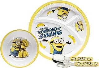 Zak Designs DESR-3870 Toddlerific Dinnerwear Set, Plate + Bowl + Flatware, Minions Movie 5pc