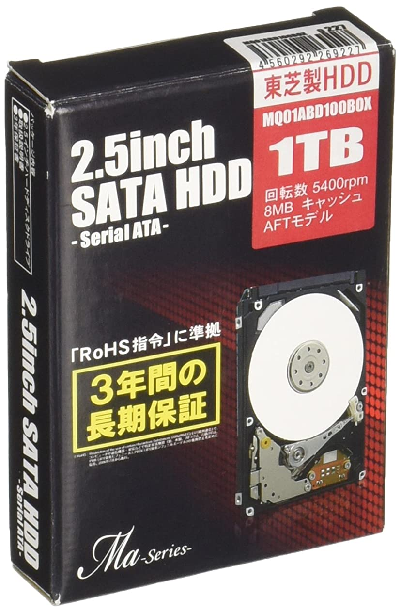 約束する正確に名目上のMARSHAL 東芝製 2.5インチ SATA-HDD Maシリーズ 1TB(9.5mm厚) MQ01ABD100BOX
