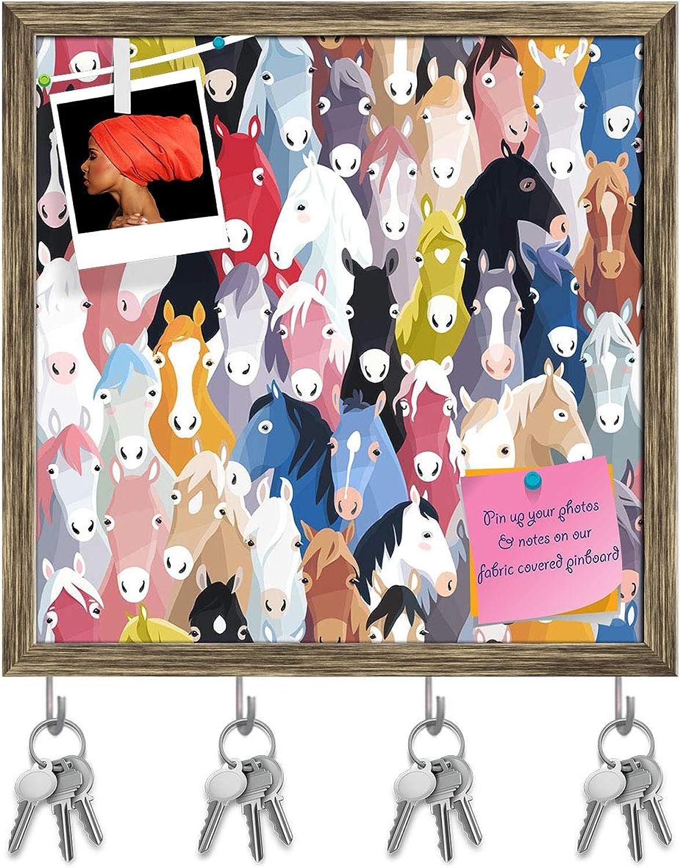 Artzfolio Cartoon Horses Key Holder Hooks   Notice Pin Board   Antique golden Frame 20 X 20Inch