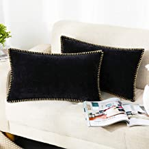 Farmhouse Decorative Throw Pillow Covers Set of 2 Trimmed Edge Velvet Cushion Cases for Couch Living Room, Black, 12x20 in...