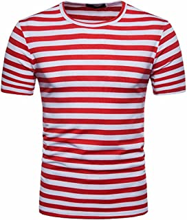 41478fb00cd02 Reasoncool Men s Summer Casual Stripe Round Neck Short Sleeve Pullover Tee  T-Shirt Top Blouse