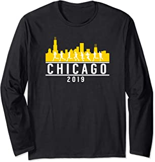 YELLOW Chicago 2019 Skyline Marathon Long Sleeve T-Shirt