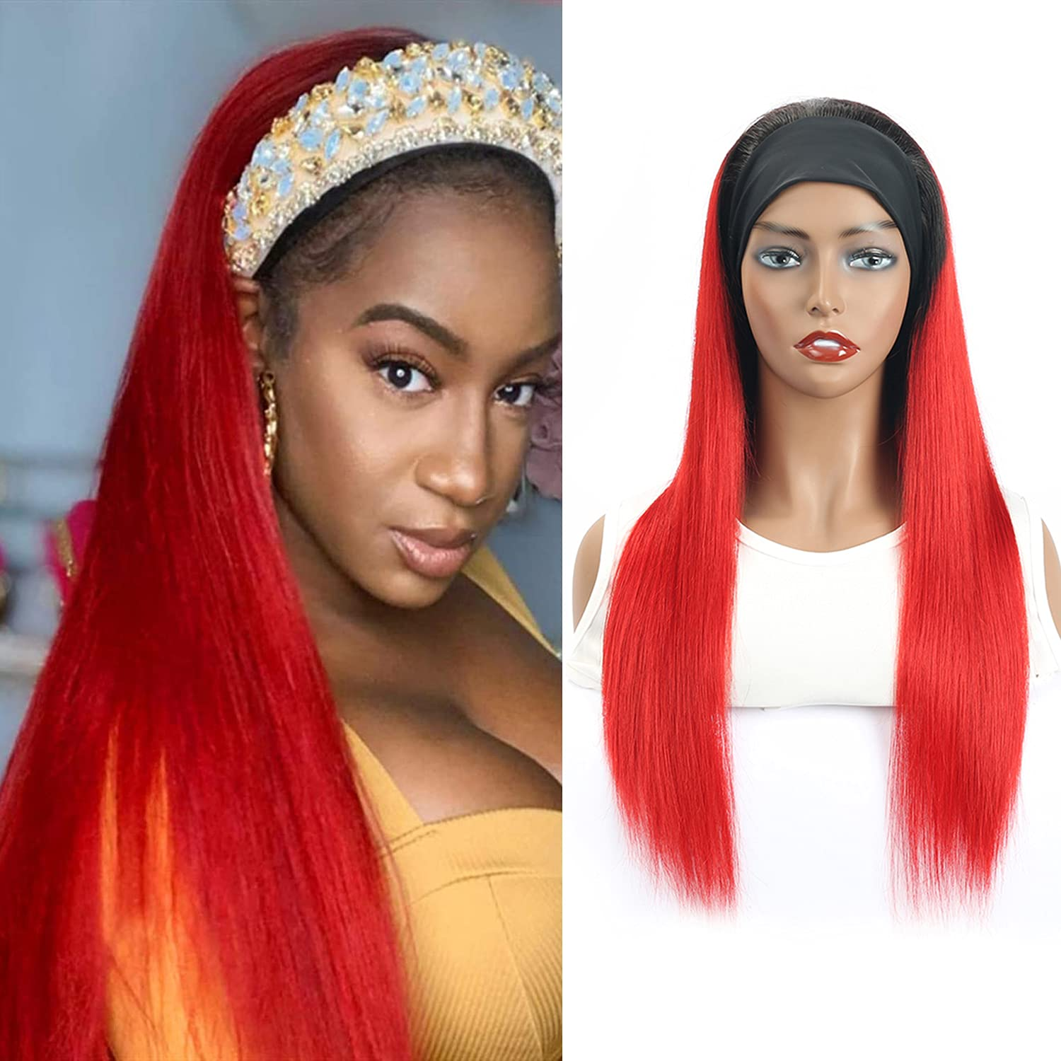 Headband Wigs for Black Limited time for free shipping Women Human Colored L Hair OFFicial store None Straight