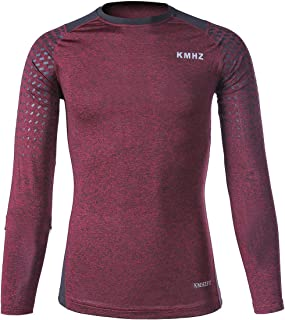 KMHZ Men's Long Sleeve Compression Shirts Cool Dry Tight Fitting Tops Sports Baselayer for Jogging Running Gym