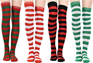 4 Pairs Long Striped Socks Knitted Knee Thigh High Socks for Halloween Christmas Cosplay and Daily Wear