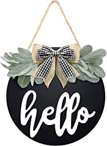 Welcome Hello Door Sign for Front Door Farmhouse Decor with Premium Greenery and Bow- Wooden Hello Sign for Wreath Rustic Door Hanger, Housewarming Gift for Front Porch Home Decor