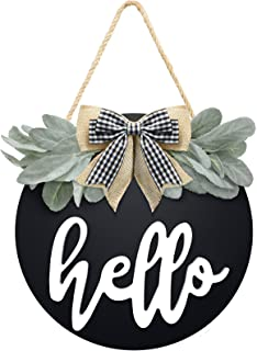 Welcome Hello Door Sign for Front Door Farmhouse Wreath Decor with Premium Greenery and Buffalo Plaid Bow- Wooden Hello Si...