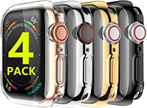 HANKN 4 Pack Screen Protector Case for Apple Watch Series 3 2 1 42mm, Soft TPU Full Coverage Plated Shockproof Smartwatch ...