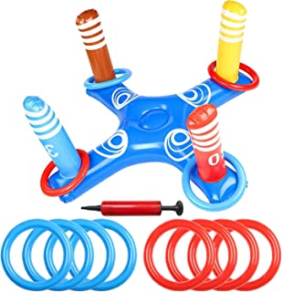 Sponsored Ad - Inflatable Pool Ring Toss Pool Game Toys Floating Swimming Pool Ring, Inflatable Ring Toss with 8 Pcs Float...
