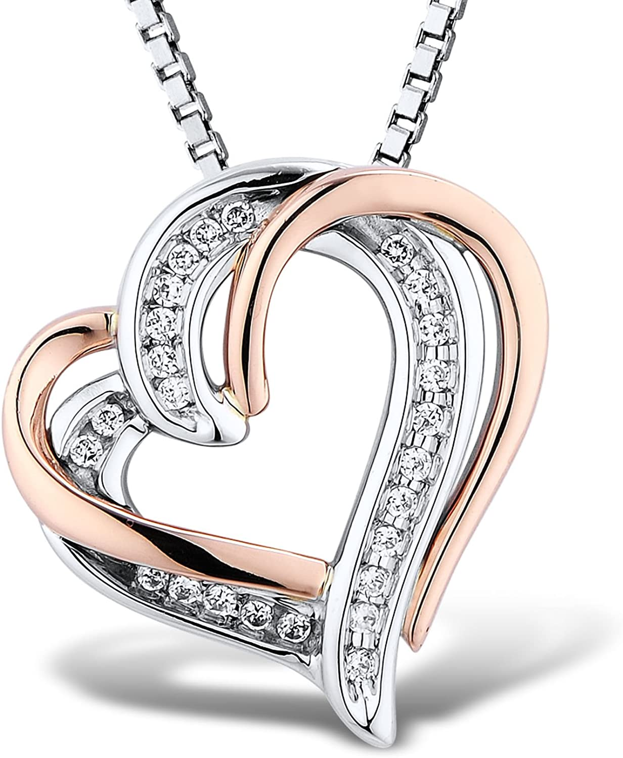 Diamond Max 72% OFF Heart Pendant Necklace 1 10 Silver cttw in and Sterling trust