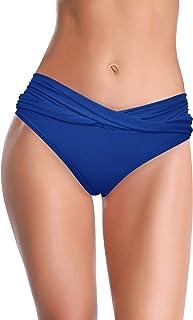 SHEKINI Women's Cheeky Swimsuit Twist Front Bikini Bottoms Ruched Swim Bottoms